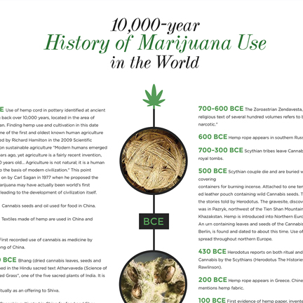 Infographic showing the history of marijuana use over the past 10,000 years
